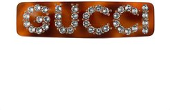 Crystal Gucci single hair barrette - Brown