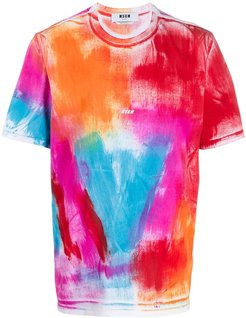 paint-effect cotton T-shirt - Red