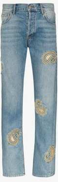 paisley embroidered straight leg jeans