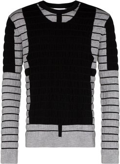 panelled crew neck jumper - Black