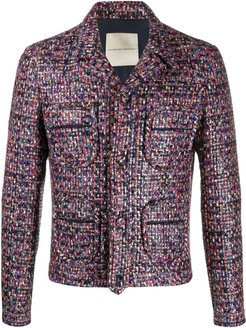 multi-pocket tweed jacket - Blue