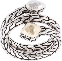 Sterling silver and 18kt bonded yellow gold Classic Chain hammered coil ring