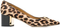 pointed leopard print pumps - Brown