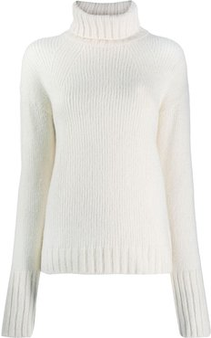 roll neck sweater - White