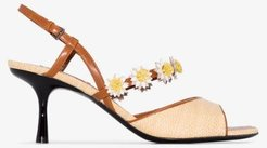 Beige Bea 65 raffia and daisy sandals