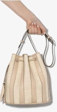 beige and brown stripe leather bucket bag