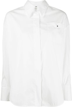 wide placket shirt - White