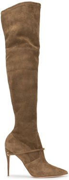 over the knee pointed boots - Brown