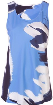 abstract print tank top - Blue