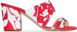 70mm floral-print pleated mules - Red
