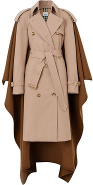 Blanket Detail Cotton Gabardine Trench Coat - Neutrals