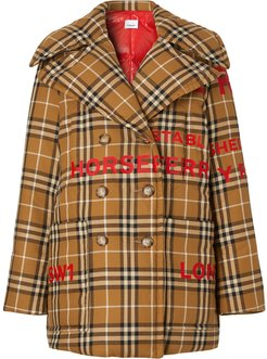 Horseferry Print Vintage Check peacoat - Brown