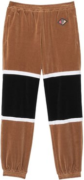 Logo Graphic Striped Chenille Trackpants - Brown