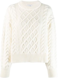 cropped cable knit jumper - White
