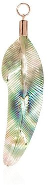 14kt rose gold abalone shell feather charm