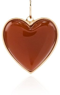 14kt yellow gold heart charm - YELLOW GOLD/RED ORANGE