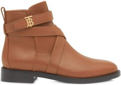 monogram motif leather ankle boots - Brown