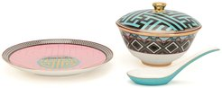 Ikat pattern tableware set - Multicolour