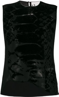 asymmetric snakeskin print top - Black