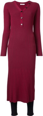 ribbed midi dress - Red