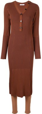 slim-fit ribbed midi dress - Brown