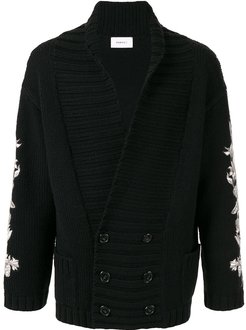 double-breasted slouch cardigan - Black