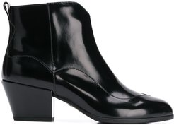 zip up ankle boots - Black
