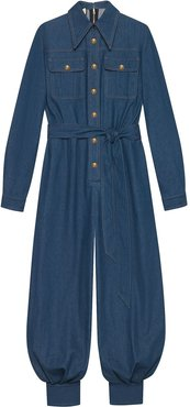 belted denim jumpsuit - Blue