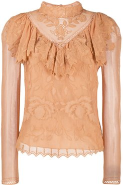 Victorian lace blouse - Brown