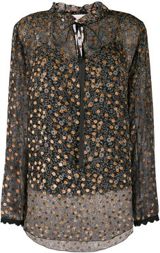embroidered sheer blouse - Black