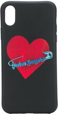 safety pin heart iPhone X case - Black
