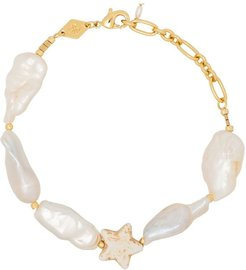 18K gold-plated Dolores howlite star and pearl bracelet