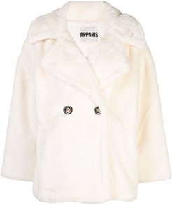 Anais double-breasted faux-fur peacoat - White