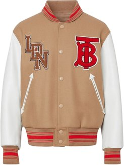 contrast sleeve logo graphic bomber jacket - Brown