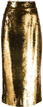 sequin-embellished pencil skirt - Yellow