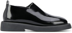 textured slip-on loafers - Black