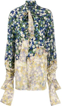 draped floral print shirt - Blue
