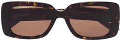 tortoise rectangle sunglasses - Brown