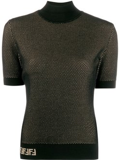 double-layer mesh-knit top - Black