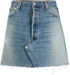 distressed-effect mini denim skirt - Blue