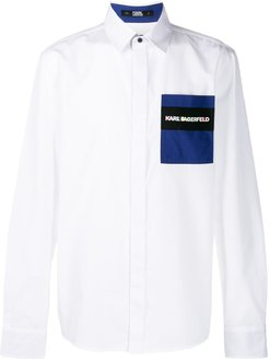 logo patch embroidered shirt - White