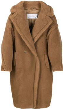 textured oversized double breasted coat - Brown
