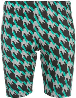 houndstooth cycling shorts - Blue