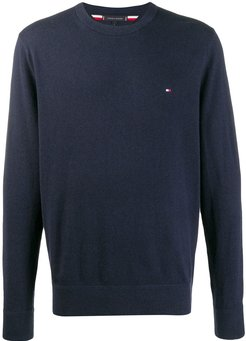 embroidered logo crew neck sweater - Blue