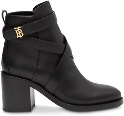 monogram motif ankle boots - Black