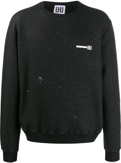 logo distressed sweatshirt - Black
