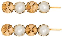 crystal and faux pearl Gallina set of two hairclips - GOLD