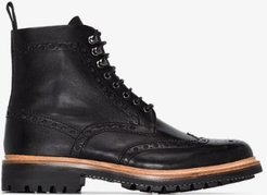 Black Fred Lace-Up Leather Boots
