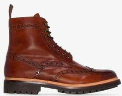 Tan Fred Hand painted Leather Boots