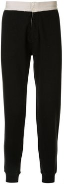 two tone track trousers - Black